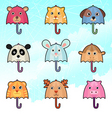 cute umbrella characters vector image vector image