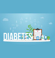 diabetes concept medical health report concept vector image vector image