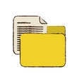 drawing yellow folder file document report paper vector image vector image