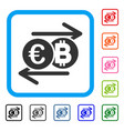 euro bitcoin change framed icon vector image vector image