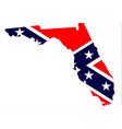 florida map and confederate flag vector image vector image