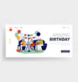 happy family celebrating first babirthday vector image