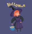little girl in witch costume basket on halloween vector image vector image