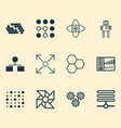 machine icons set with control panel data cells vector image