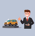 man holding key from new car vector image