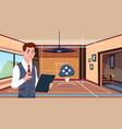 Man use digital tablet app of smart home