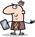 man with tablet pc cartoon vector image vector image