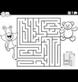 maze game with girl and teddy coloring book page vector image vector image