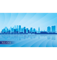 Miami city skyline silhouette background vector image vector image