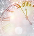 New 2016 year clock with snowy background vector image vector image