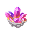 pink crystal rock gem isolated mineral vector image