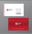 red elegant name card template red and white name vector image vector image
