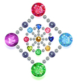 Rhombus-circle composition colored gems set vector image vector image