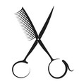 scissors and comb silhouette vector image vector image