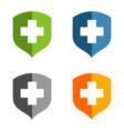 Set health care cross shield logo template