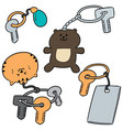 set of keychain vector image