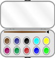 Set of paints with brush in box vector image vector image