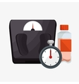 set weight scale chronometer bottle protein vector image