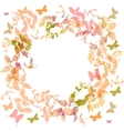 Spring background Colorful butterflies set wreath vector image