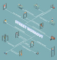 street workout isometric flowchart vector image vector image