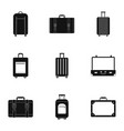 travel bag trolley icon set simple style vector image vector image