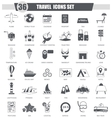 Travel black icon set Dark grey classic vector image vector image
