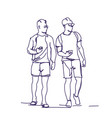 two man standing hold smart phones talking sketch vector image