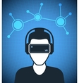 Virtual reality icon men with glasses and headset vector image vector image