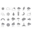 Weather forecast gray icons set vector image