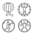 zorb ball activity icons set outline style vector image vector image