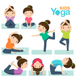 Cute girl doing yoga on a white background vector image