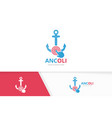 anchor and click logo combination marine vector image vector image