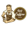 barista coffee latte art cafe logo design template vector image
