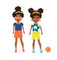 cartoon afroamerican girls vector image