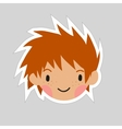 Cartoon boy head flat sticker icon vector image vector image