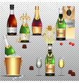 champagne holiday colorful flat set on transparent vector image vector image