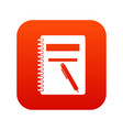 closed spiral notebook and pen icon digital red vector image vector image