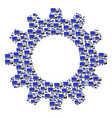 cog mosaic of delivery lorry icons vector image