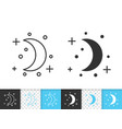 crescent simple black line icon vector image