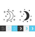 crescent simple black line icon vector image vector image