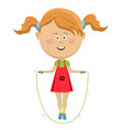 cute little girl jumping with skipping rope vector image vector image