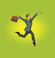 elegant funny businessman with briefcase running vector image vector image