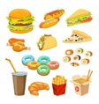 Fast Food Colorful Objects Set vector image