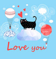 festive greeting card with enamored funny cat vector image vector image