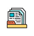 files in folder flat color line icon vector image vector image