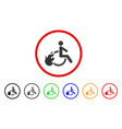 fired disabled person rounded icon vector image vector image