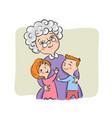 grandmother hugs her grandchildren vector image