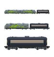 green locomotive with railway tank car vector image vector image