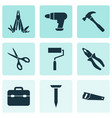 handtools icons set collection of paint toolkit vector image
