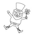 happy leprechaun jumping holding clover in hand vector image vector image